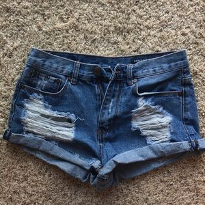 Distressed Mid Rise Shorts